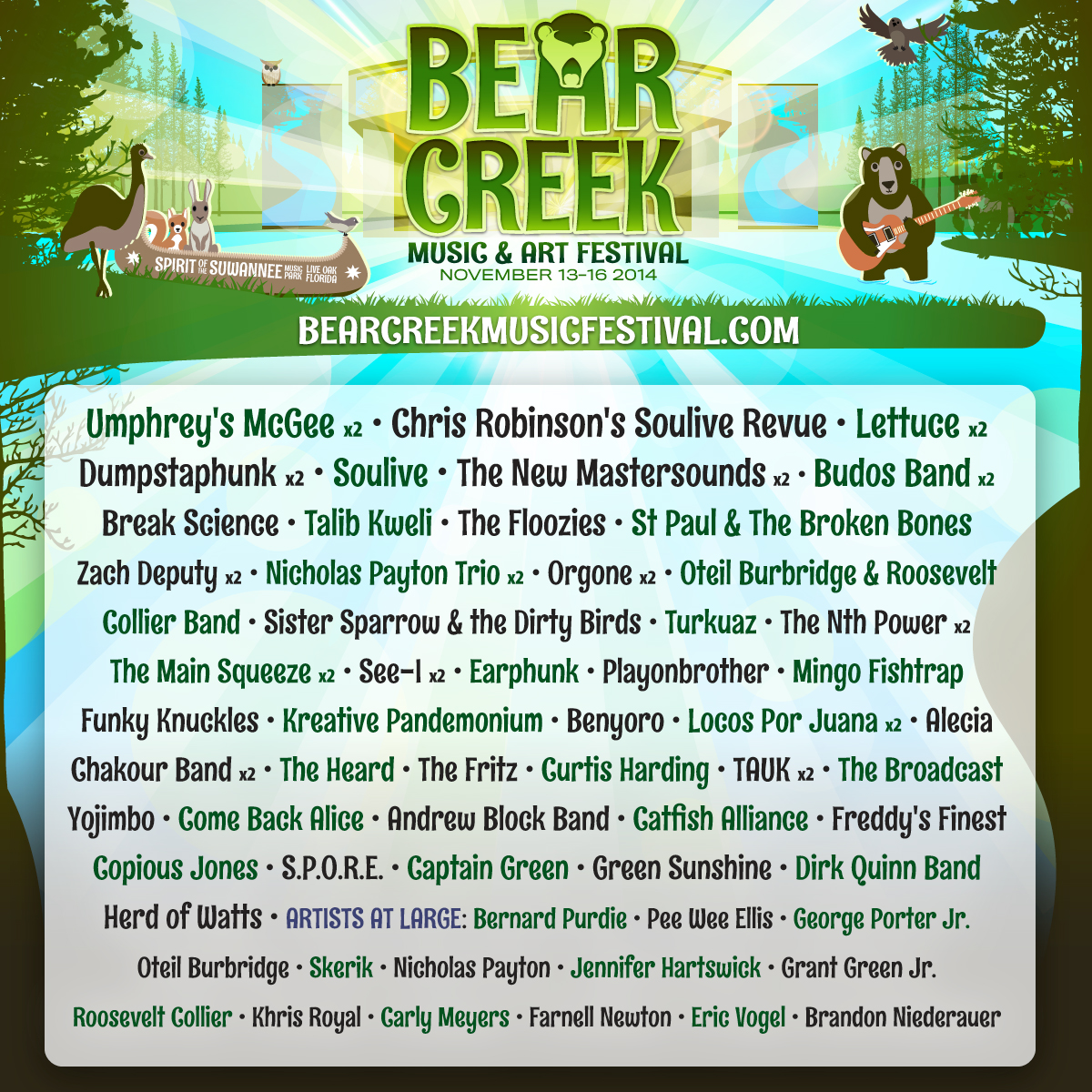 BEAR CREEK MUSIC & ART FESTIVAL ADDS CHRIS ROBINSON SOULIVE REVUE, TALIB KWELI AND MORE
