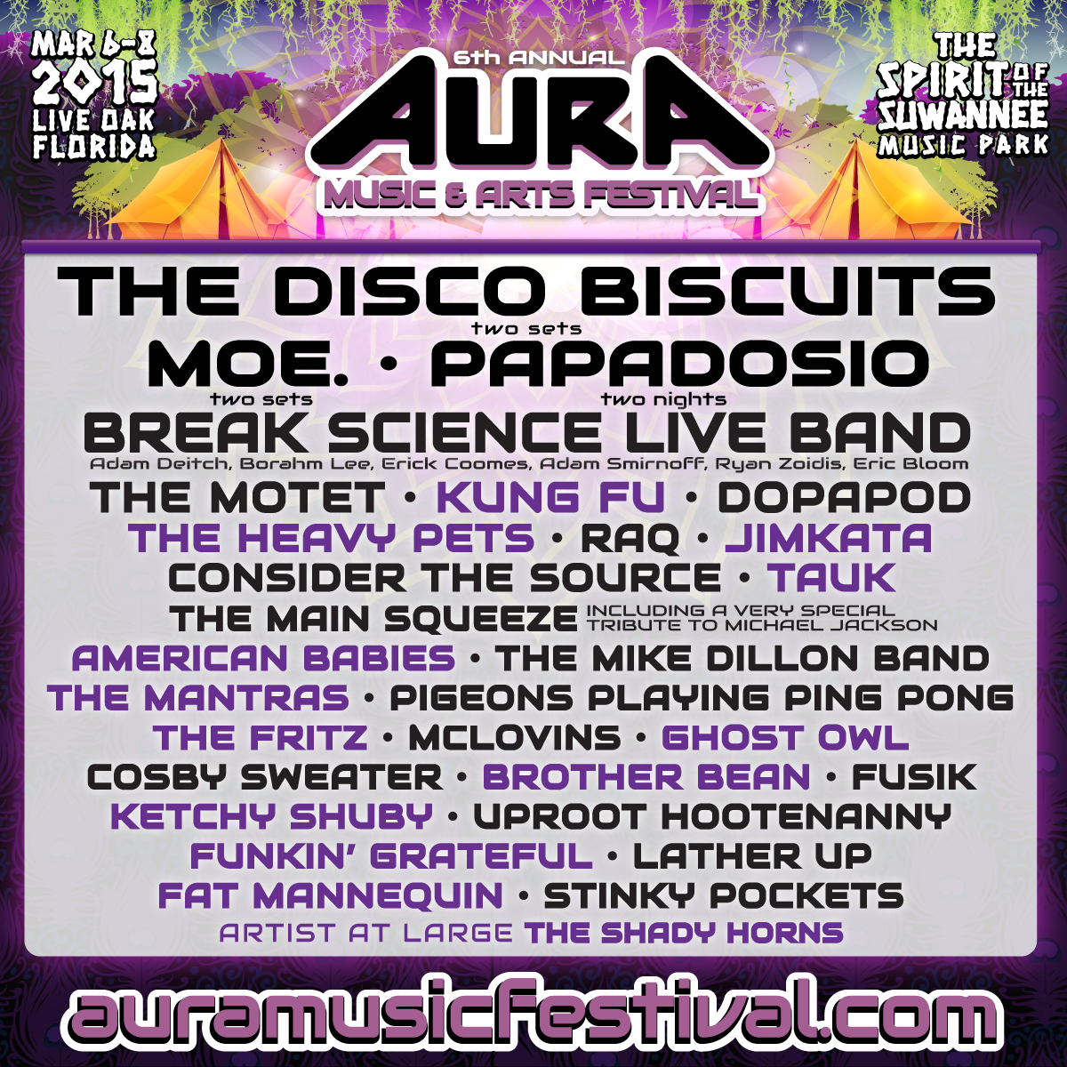 AURA Music & Arts Festival Adds Break Science Live Band, The Motet, The Heavy Pets, TAUK, The Fritz and More!