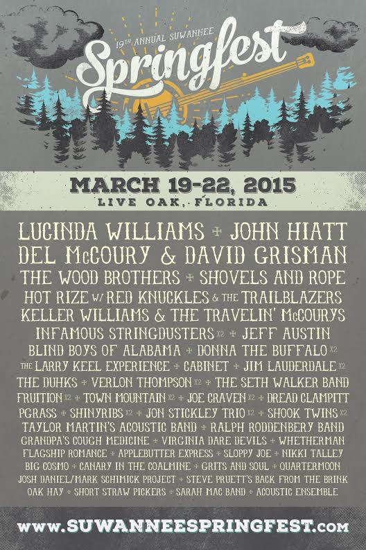 Suwannee Springfest 2015 Features Lucinda Williams, John Hiatt, Del McCoury & David Grisman, and more!