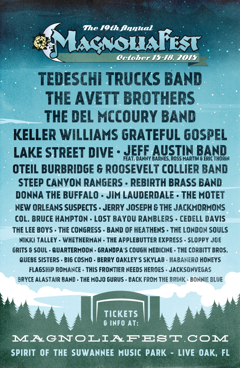 Magnolia Fest Oct 15-18, 2015 features Tedeschi Trucks Band, The Avett Brothers, and more