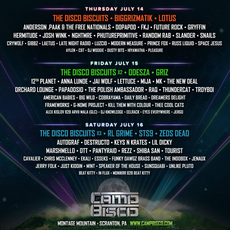 Camp Bisco Preview, July 14-16, 2016, Montage Mountain, PA