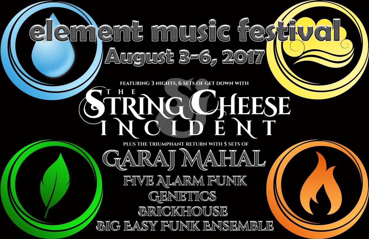 Element Music Festival Announces SCI, The Return of Garaj Mahal & More – August 3 – 6, 2017 (British Columbia)