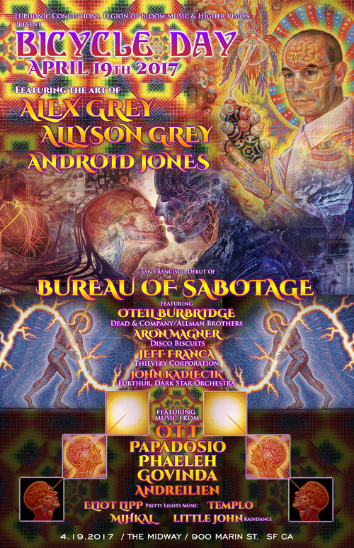 Preview: Bicycle Day with Alex & Allyson Grey, Android Jones, Papadosio in San Francisco