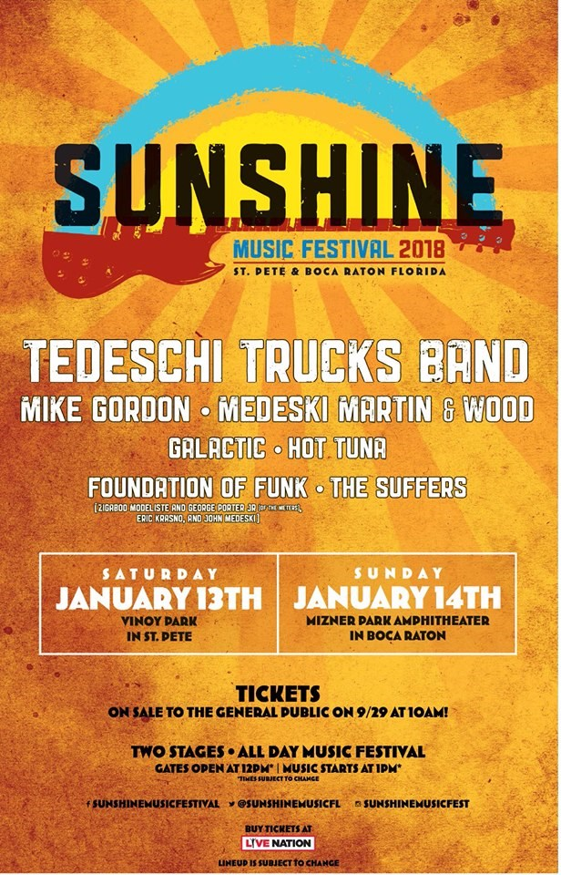 In it's Sixth Year, The 2018 Sunshine Music Festival. Saturday January 13th – ST. PETE. Sunday, January 14th – BOCA RATON