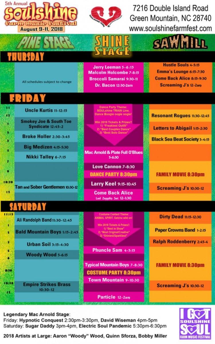 What's Up Weekly: August 5-12, 2018 – SoulshineFarm Music Festival, Shadefest, Jerry Garcia Celebrations, and Phish