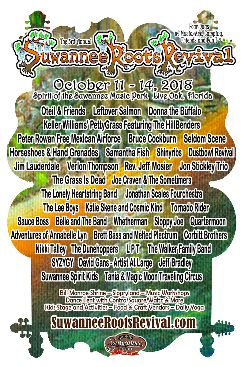 Festival Preview: The 3rd annual Suwannee Roots Revival is back at the Spirit of Suwannee Music Park October 11-14, 2018