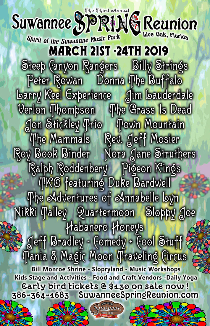 3rd Annual Suwannee Spring Reunion Announces Dates and Initial Lineup – March 21-24, 2019 in Live Oak, FL