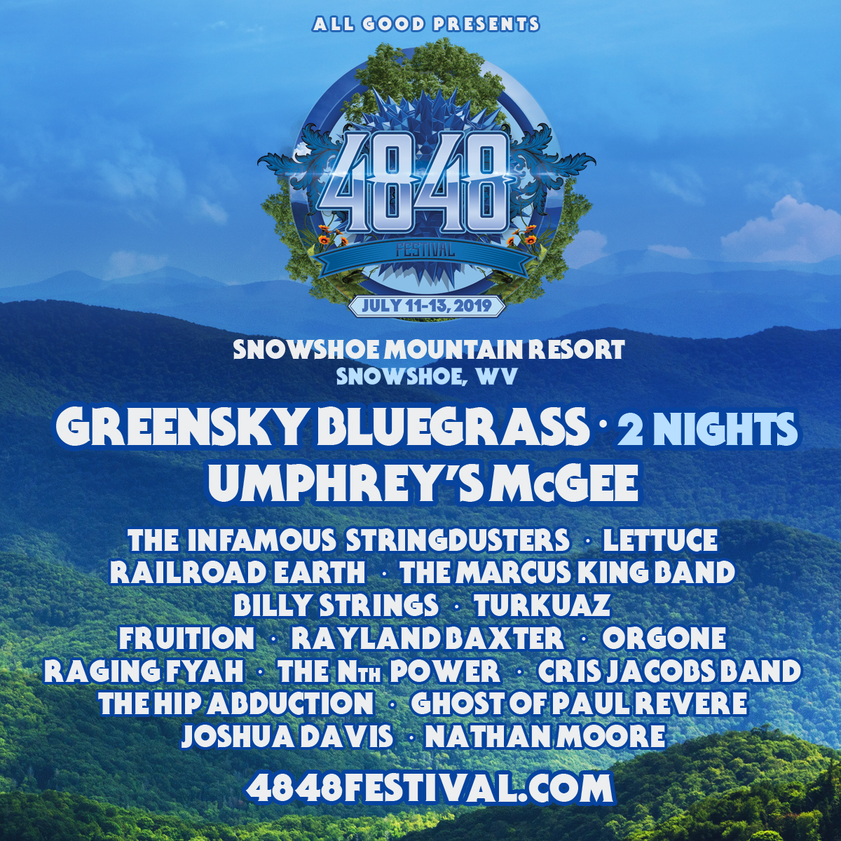 All Good Presents the Inaugural 4848 Festival at Snowshoe Mountain July 11 – 13