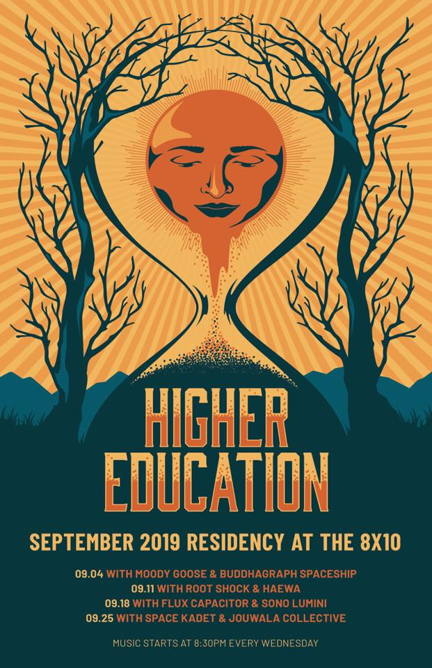 Higher Education Announces September Residency at The 8×10 with Buddhagraph Spaceship, Flux Capacitor & more