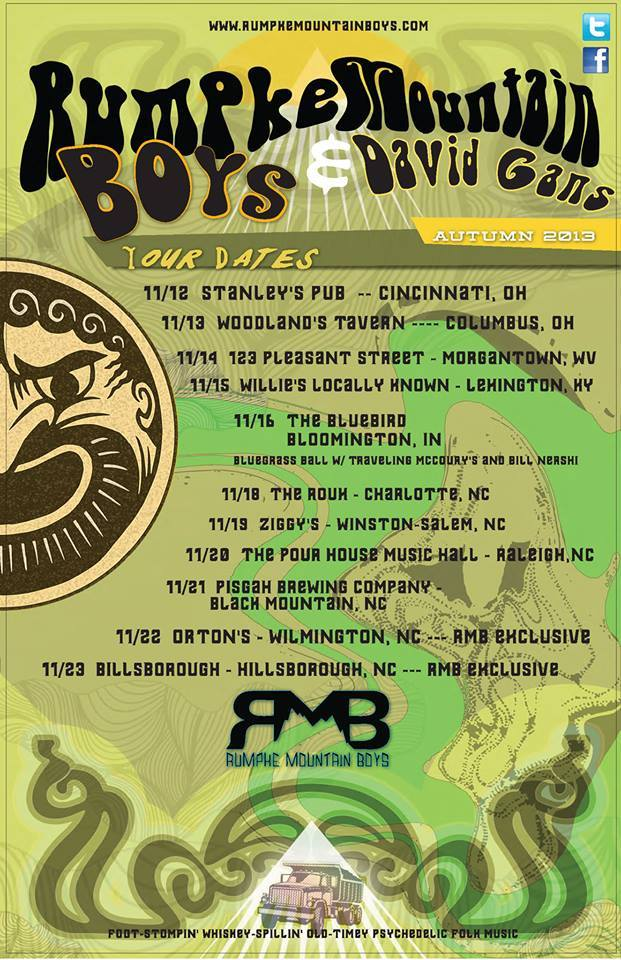Rumpke Mountain Boys announce 2013 Fall Tour with Special Guest David Gans