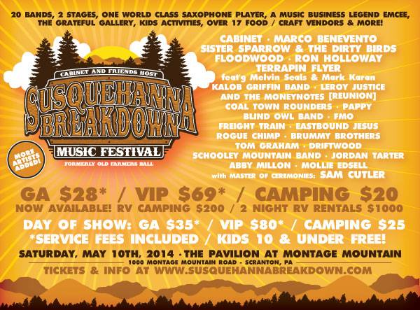 Cabinet's 2nd Annual Festival The Susquehanna Breakdown Music Festival Schedule Announced