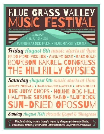 Allegheny Mountain Radio Presents: The 2nd Annual Blue Grass Valley Music Fest