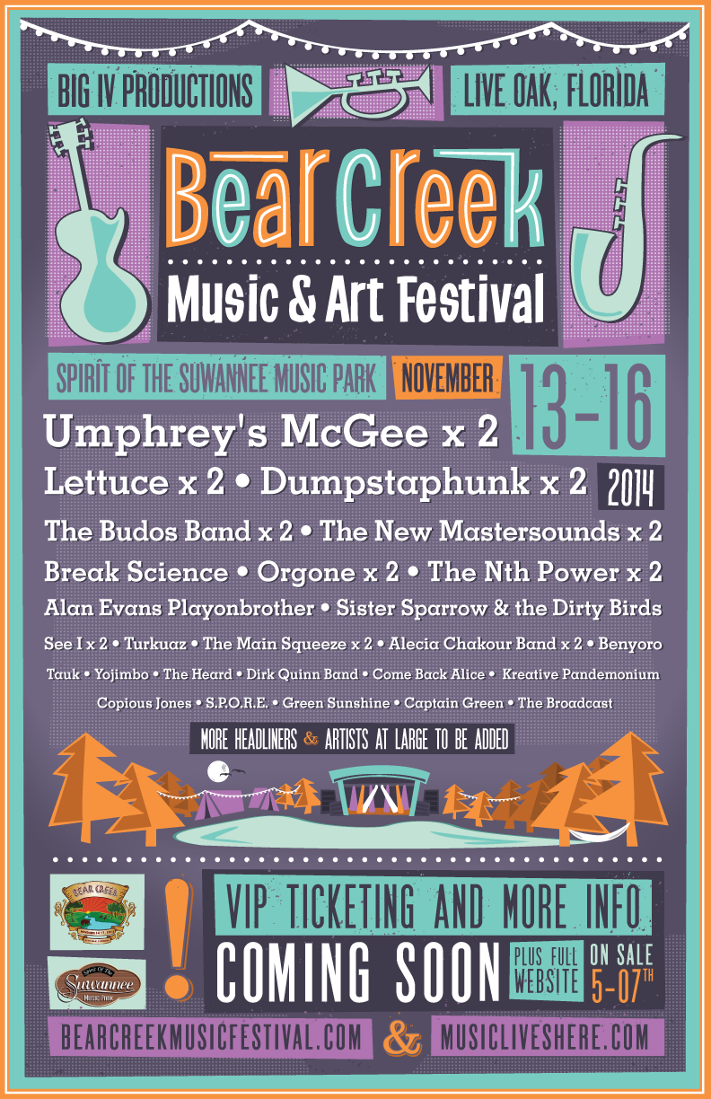 BEAR CREEK MUSIC & ART FESTIVAL ANNOUNCES 2014 INITIAL LINE-UP