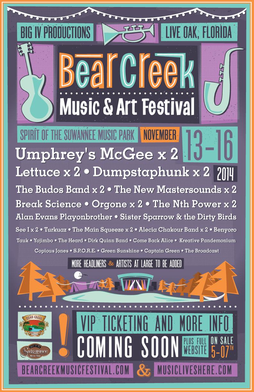 BEAR CREEK MUSIC & ART FESTIVAL ANNOUNCES 2014 INITIAL LINE-UP