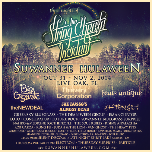 THE STRING CHEESE INCIDENT'S SUWANNEE HULAWEEN ANNOUNCES FULL WAVE OF ADDITIONAL ARTISTS + MORE