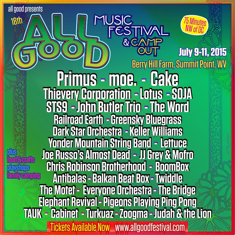 All Good Festival Adds Joe Russo's Almost Dead, Railroad Earth, Chris Robinson Brotherhood & More in Final Lineup Announcement