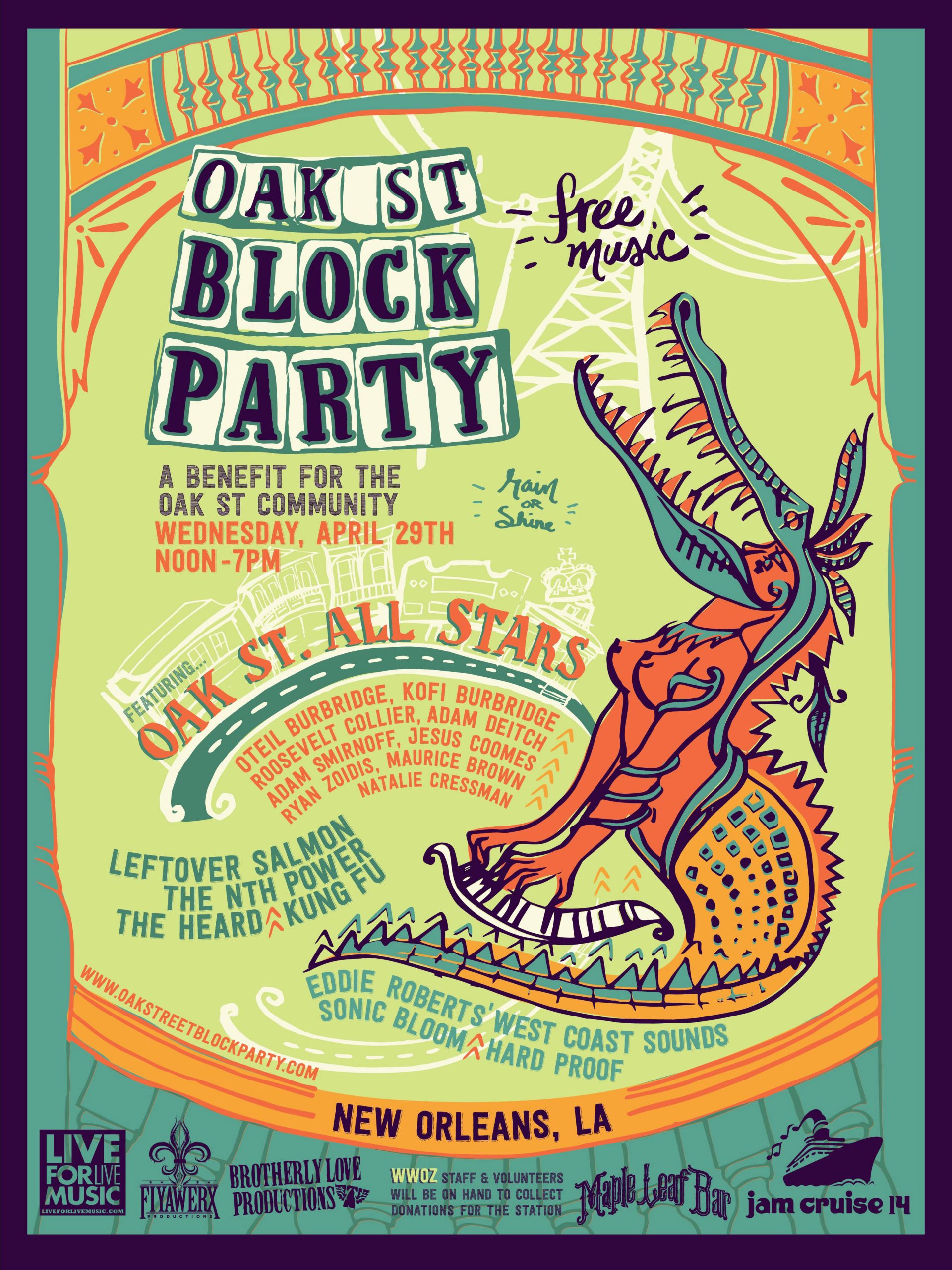 Second Annual Oak Street Block Party April 29 | FREE Music Festival During Jazzfest Benefiting the Local Community