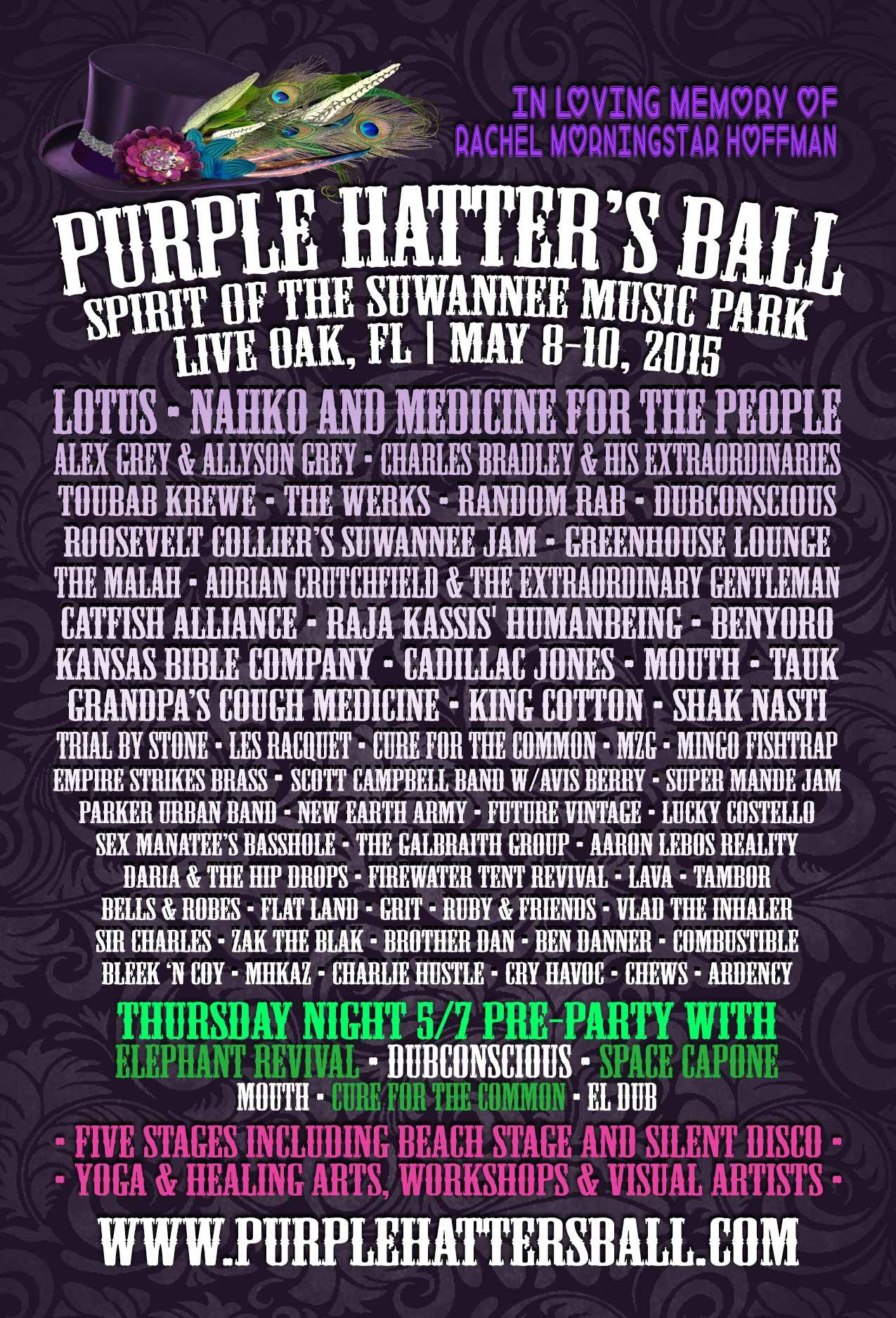 Purple Hatter's Ball Adds TAUK and Mingo Fishtrap, Releases Schedule and Live Art Artist Roster