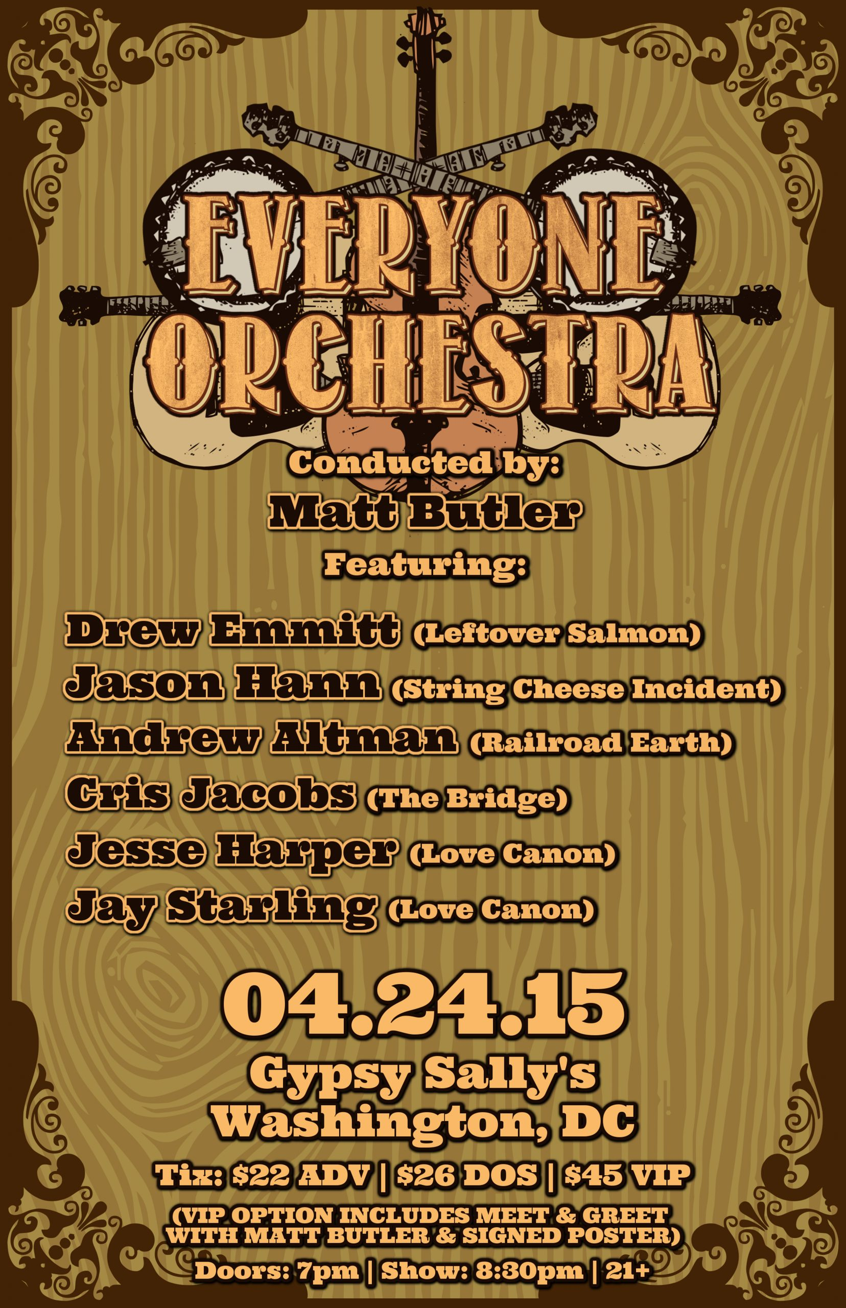 TheEveryoneOrchestraPlays Gypsy Sally's Fri 4/24 w/ Members of Leftover Salmon, String Cheese Incident, Railroad Earth, The Bridge, and Love Canon