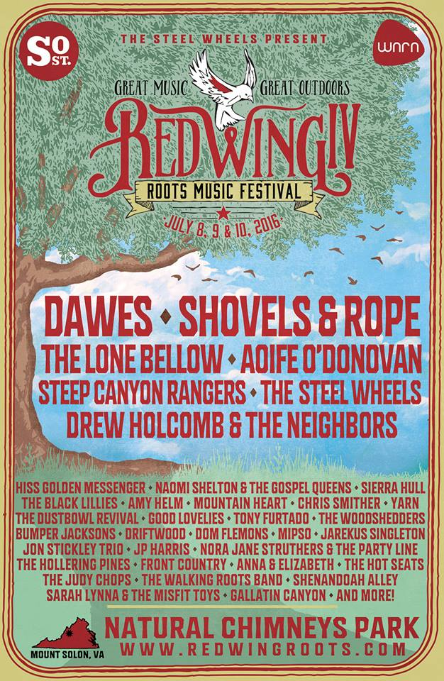 Red Wing Roots Music Festival July 8-10 Mt. Solon, VA
