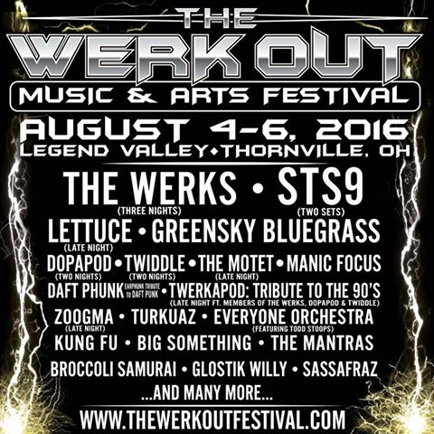 Werk Out Music & Art Festival Preview: Aug 4-6, 2016, Thornville, OH