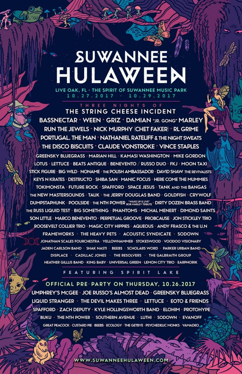Suwannee Hulaween Announces Phase 2 Lineup for October 27-29 2017 Event